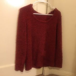 Red Fuzzy Chenille Sweater